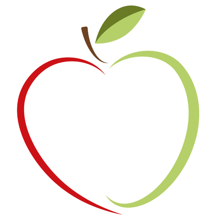 Green apple and red heart - vector logo. The idea of ??a logo for a company of organic products, vegetarian food, and ecological goods and others.