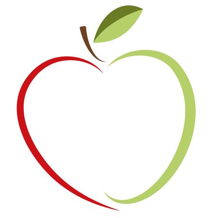 Grüner Apfel und rotes Herz - Vektorlogo. Die Idee eines Logos für ein Unternehmen von Bioprodukten, vegetarischen Lebensmitteln und ökologischen Gütern und anderen.