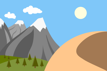 vector illustration of mountains with snow and a mountain in the desert, climate change concept Standard-Bild - 101492526