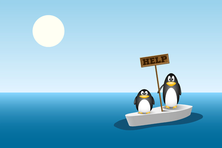 two penguins are left behind on the last ice floe after all the ice mountain has melted. global warming concept, climate change Illustration