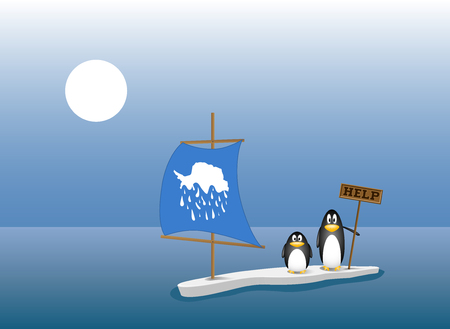 two penguins are left behind on the last ice floe after all the ice mountain has melted. global warming concept, climate change Stock Illustratie