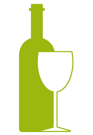Logo design template or wine bottle whit wineglass on white background. Concept for wine lists, bar and restaurant menus, alcohol drinks, wine labels. Logó