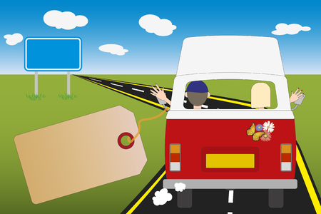 Abbildung mit Kopierraum oder Wohnmobilbus. Mann und Frau fahren in ihrem Wohnmobil auf der Straße. Reisen und Umzug, Urlaubskonzept.