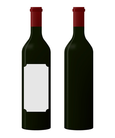 Red wine bottle with blank label and one without label on white background. vector Illustration. copy space in the label
