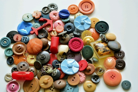 Pile of Old Vintage Plastic Buttons