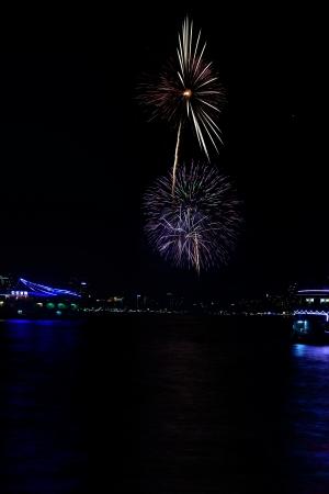 PATTAYA, THAILAND-NOVEMBER 29, 2013  The first day of the Pattaya International Fireworks Festival 2013 in Pattaya Beach, Thailand