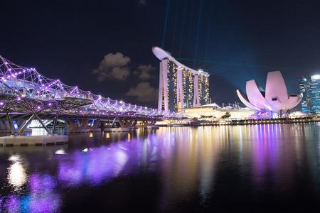 SINGAPORE - MAY 08   marina bay sands hotel Singapore helix bridge May 08, 2014 in Singapore