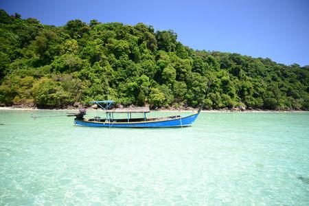 surin: he Boat in the sea at Surin island Stock Photo