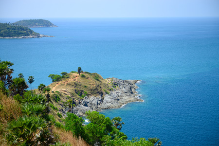 sea scape: Beautiful sea scape at Promthep cape view point, Phuket, Thailand Stock Photo