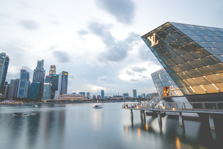 futuristic building: SINGAPORE - May 10: The futuristic building of Louis Vuitton shop in Marina Bay, Singapore on May 10, 2014