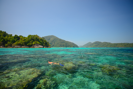 phangnga: Snorkeling point with beautiful coralscape at Surin national park ,khao lak,Phang-nga, Thailand (Unkown People)
