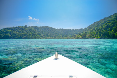 phangnga: seascape with front of speed boat at Surin national park khao lak,Phang-nga, Thailand Stock Photo