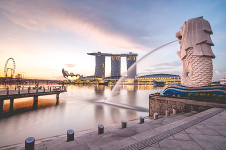 Sunrise in the morning at Merlion, Marina Bay, Singapore