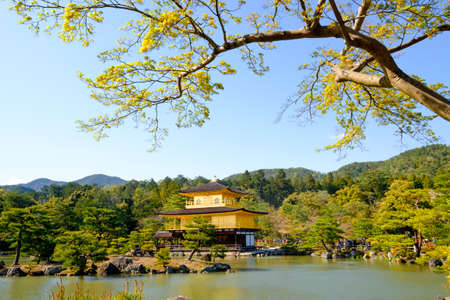 rokuonji: Kinkaku-ji, the Golden Pavilion, a Zen Buddhist temple in Kyoto, Japan Stock Photo