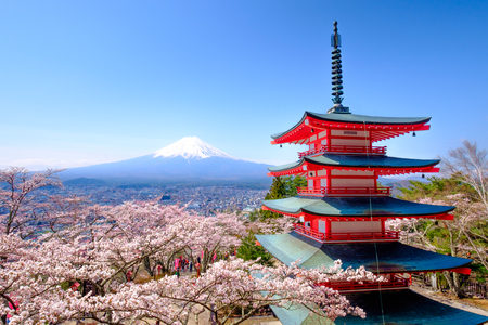 Mt. Fuji with red pagoda in autumn, Fujiyoshida, Japan Editorial