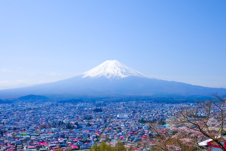 Mt. Fuji in Spring, Fujiyoshida, Japan Stock Photo
