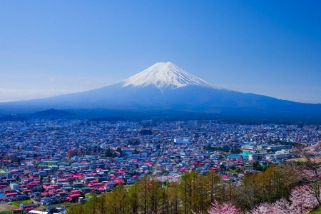 sengen: Mt. Fuji With Cherry Blossom (Sakura )in Spring, Fujiyoshida, Japan