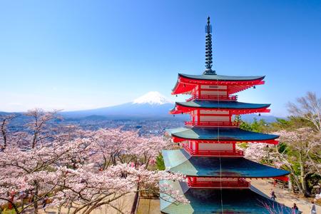 sengen: Mt. Fuji with red pagoda in autumn, Fujiyoshida, Japan Editorial