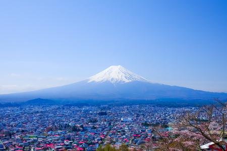 sengen: Mt. Fuji in Spring, Fujiyoshida, Japan Stock Photo