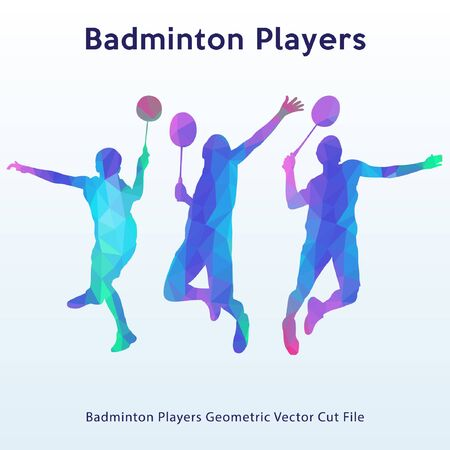Badminton player with lowpoly style