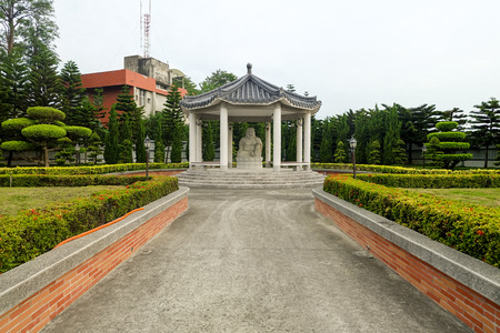 pavillion: A statue in a pavillion