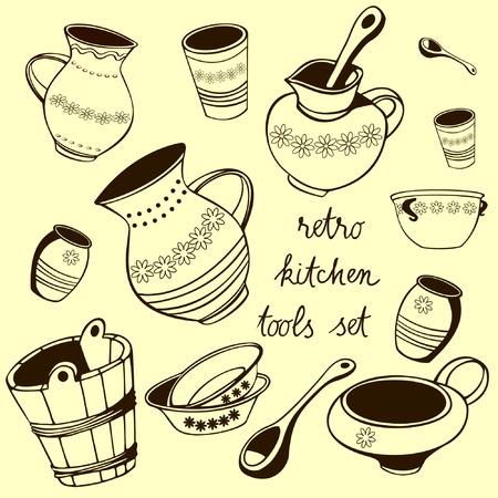 kitchen tools: Retro Kitchen Tools Vector Set