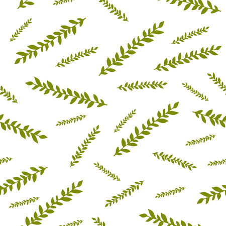 green branches: seamless pattern with green doodle branches. Olive green branches