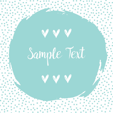 big size: Round dots frame with a big blue dot with empty space for your text. Frame made of blue spots or dots of various size. Circle shape. Abstract background.