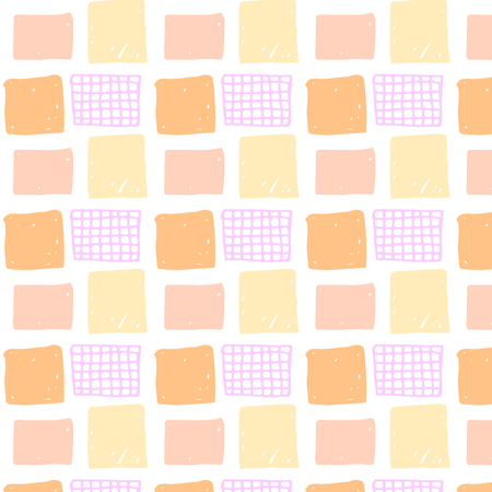 coral colored: seamless pattern with colored hand drawn squares. Peach, orange, pink and coral red squares.