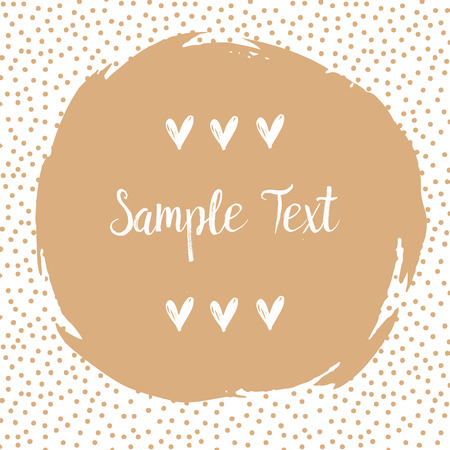 sputter: Round dots frame with a big beige dot with space for your text. Frame made of beige spots or dots of various size. Circle shape. Abstract background. Vector file on transparent background. Illustration