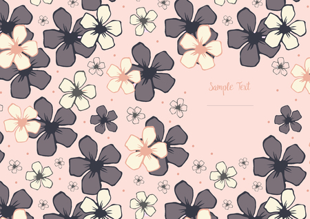 photo album cover: template with floral pattern with pink cherry blossom flowers on pink background. It can be used as photo album cover and other. Illustration