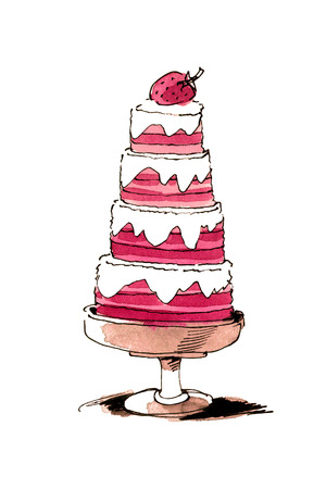 Hand painted watercolor pink strawberry cake. Isolated object on white background.