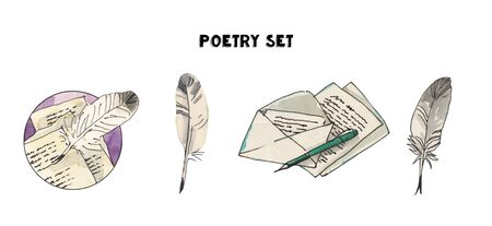 Watercolor vintage poetry set of illustrations. Letters, feather, pen tools, pens. Hand drawn illustrations. Banco de Imagens