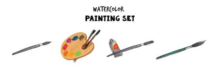 Watercolor vintage art tools set of illustrations. Pallette, brushes, paint. Hand drawn illustrations.