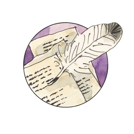 Watercolor vintage poetry icon. Letters, feather, pen tool. Hand drawn illustration.