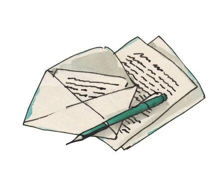 Watercolor vintage letters icon. Hand drawn illustration. Banco de Imagens
