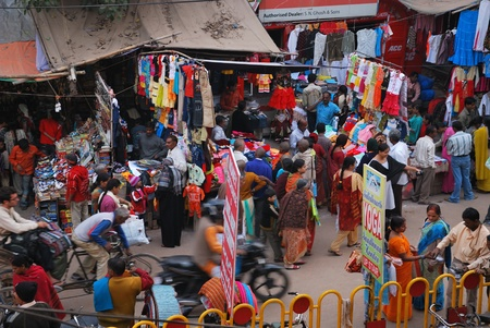 INDIA, Varanasi - NOVEMBER 24 2009 - Typical, busy street in India, showing the prevailing there piston