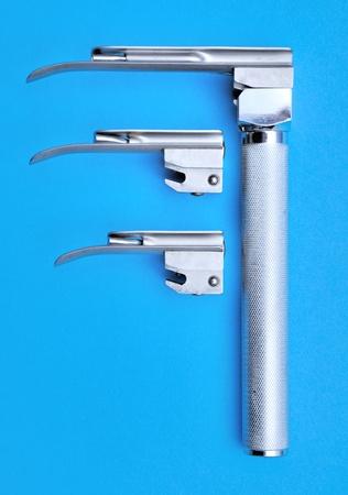 cardiac arrest: Miller laryngoscope with a set of spoons Stock Photo