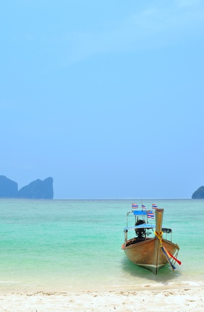Long boat on Phi Phi Islands in Thailand photo