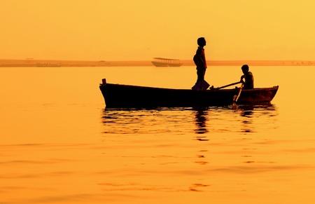 ganges: Boat on Gandes in India.