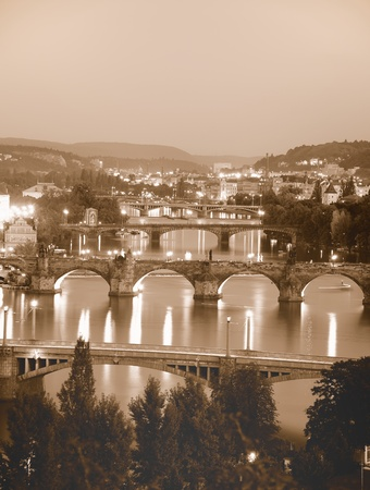 vltava: Bridges of Vltava river in Prague.