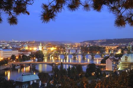 Bridges of Vltava river in Prague. photo