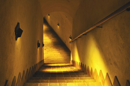 dungeons: Stairs to the old dungeon. Underground in Lublin in Poland.