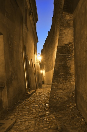lublin: Old, antique street at night. Lublin in Poland.