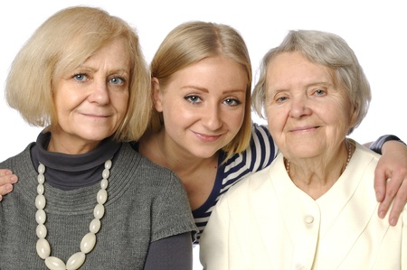 Three woman - three genertions on white Stock Photo - 12576438