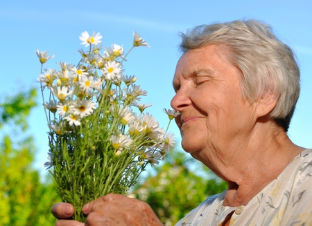 landlady: Senior smelling flowers on blur sky  Stock Photo