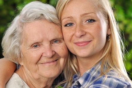 祖母と孫娘 写真素材