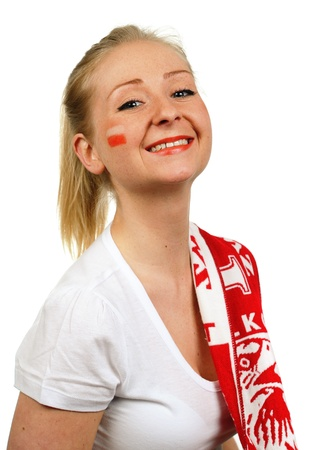 Women - Polish soccer fan  Dressed in Polish national color and scarfs  photo