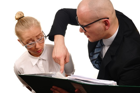 teaches: Secretary and boss in office  Stock Photo