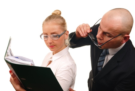 supervision: Secretary and boss in office  Stock Photo